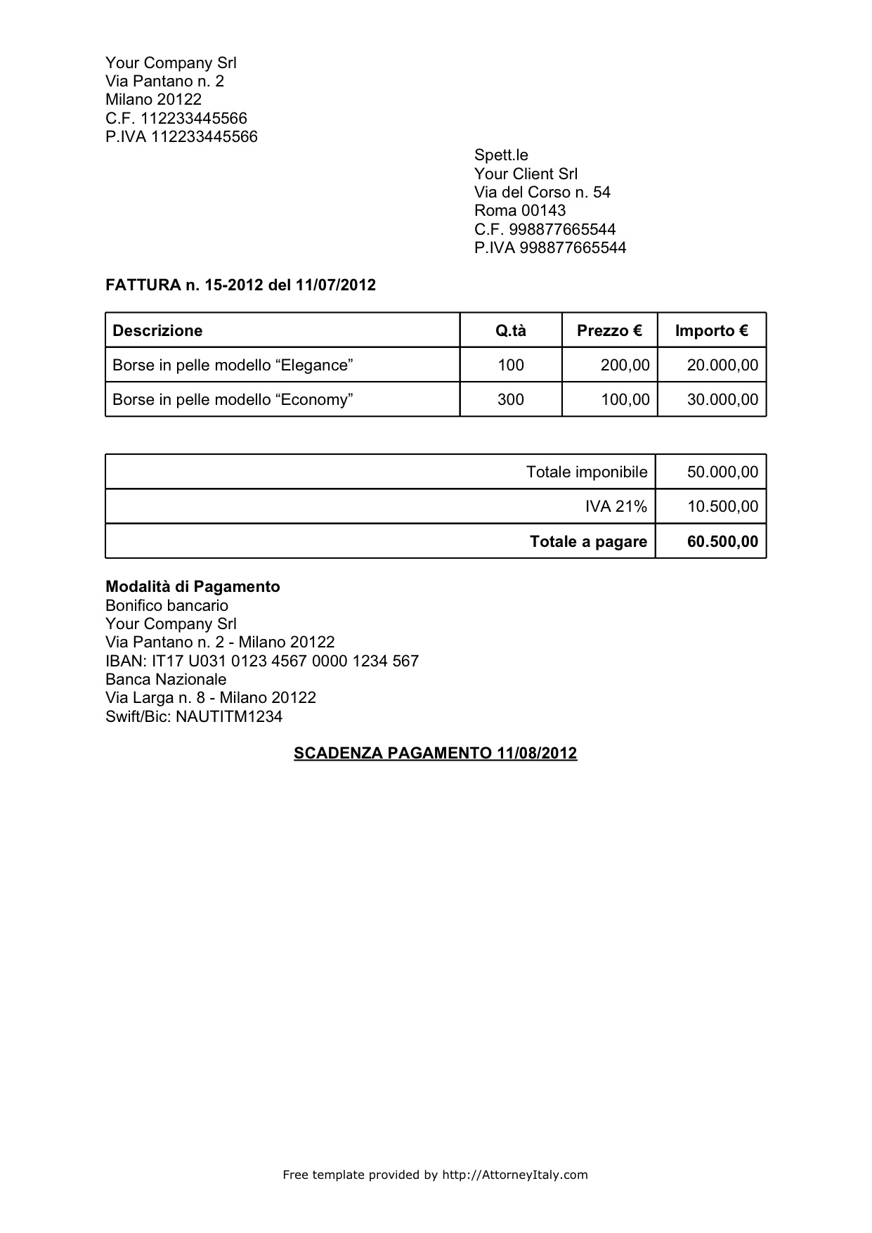 Italian Invoice Template - Invoice template for services provided